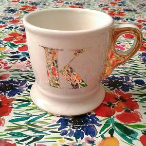 Anthropologie Gold Tone Letterpress K Mug Cup